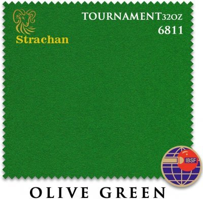 Сукно Strachan Snooker 6811 Tournament 32oz 193см Olive Green